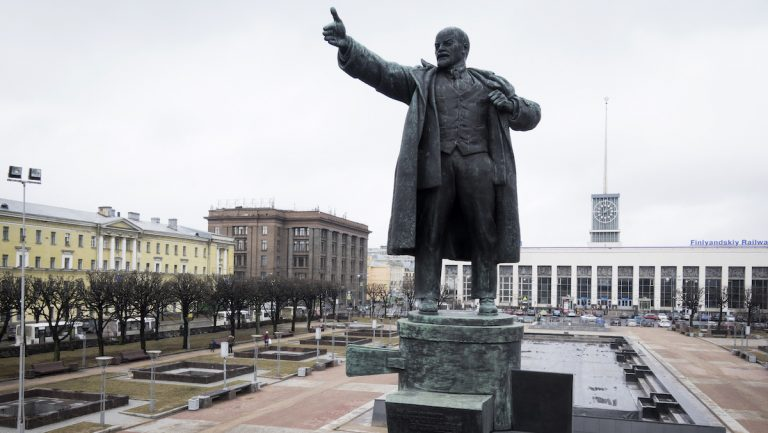 In this Saturday, March 11, 2017 photo, the statue of the Soviet Union founder Vladimir Lenin in front of the Finnish railway station in St. Petersburg, Russia.  (AP Photo/Dmitri Lovetsky)
