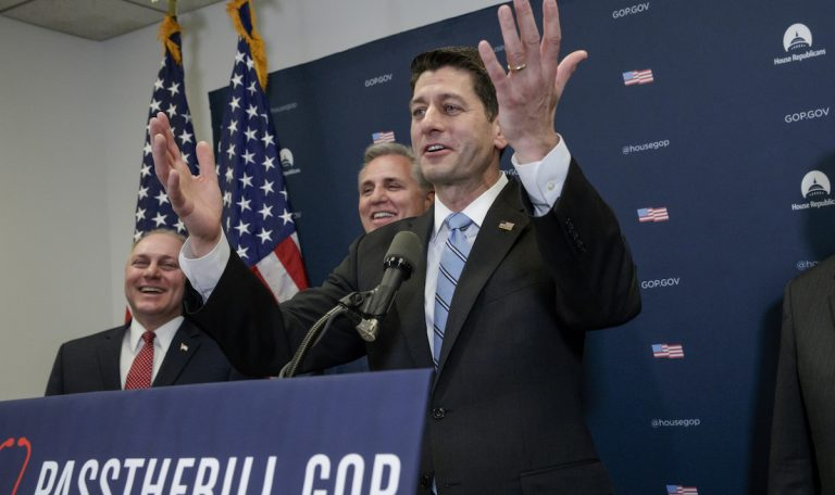 From right, House Speaker Paul Ryan of Wis., joined by House Majority Leader Kevin McCarthy of Calif., and Majority Whip Steve Scalise, R-La., speaks to reporters on Capitol Hill in Washington, Tuesday, March 21, 2017, after meeting with President Donald Trump who came to Capitol Hill to rally support among GOP lawmakers for the Republican health care overhaul. (AP Photo/J. Scott Applewhite)