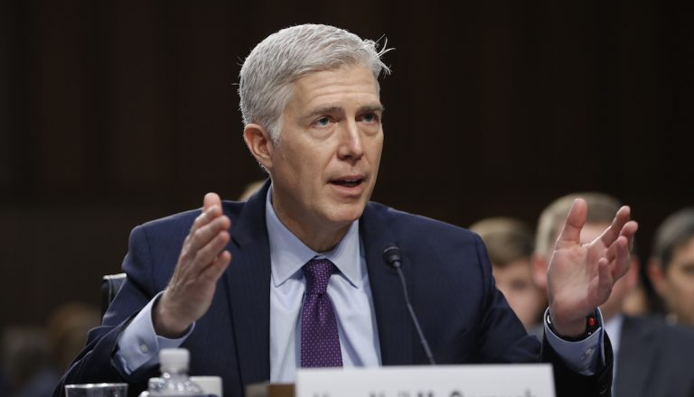 Supreme Court Justice nominee Neil Gorsuch testifies on Capitol Hill in Washington, Tuesday, March 21, 2017, during his confirmation hearing before the Senate Judiciary Committee. (AP Photo/Pablo Martinez Monsivais)