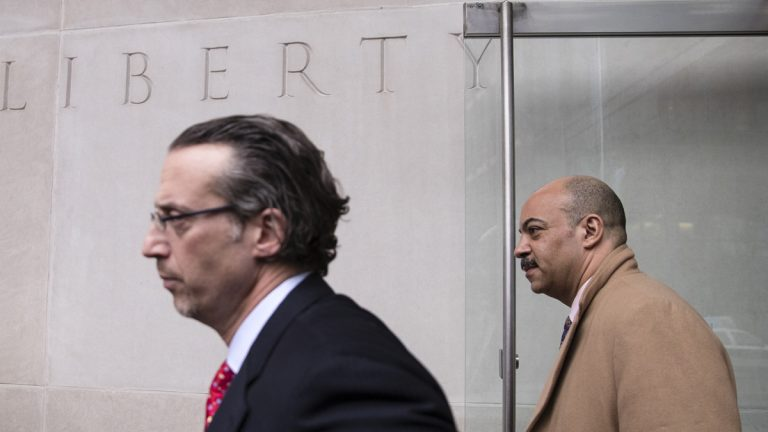 Philadelphia District Attorney Seth Williams (right) and his current lawyer Mike Diamondstein depart after a preliminary hearing in his bribery and extortion case at the federal courthouse in Philadelphia Tuesday. (AP Photo/Matt Rourke