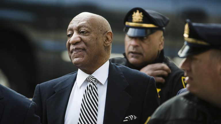 Bill Cosby arrives for a pretrial hearing in his sexual assault case at the Montgomery County Courthouse in Norristown, Pa., Monday. (AP Photo/Matt Rourke)