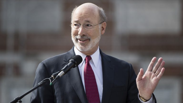 Pennsylvania Gov. Tom Wolf sounded like a candidate Monday morning during an event in Harrisburg. (AP photo/Matt Rourke)