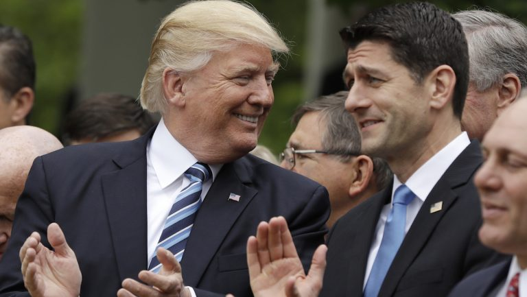 President Donald Trump talks with House Speaker Paul Ryan of Wis. in the Rose Garden of the White House in Washington, Thursday, May 4, 2017, after the House pushed through a health care bill. (AP Photo/Evan Vucci)