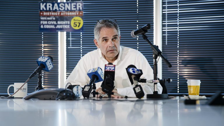 Larry Krasner, the Democratic nominee for Philadelphia district attorney, speaks during a news conference in Philadelphia Wednesday. Krasner, a civil rights lawyer who has defended Black Lives Matter and Occupy Philadelphia protesters, vows to oppose the death penalty and mass incarceration. (AP Photo/Matt Rourke)