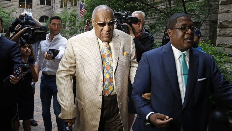 Bill Cosby, center, arrives for jury selection in his sexual assault case at the Allegheny County Courthouse, Monday, May 22, 2017, in Pittsburgh, Pa. The case is set for trial June 5 in suburban Philadelphia. (AP Photo/Gene J. Puskar)