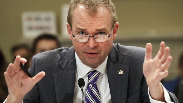 U.S. Budget Director Mick Mulvaney testifies on Capitol Hill in Washington Wednesday before the House Budget Committee hearing on President Donald Trump's fiscal 2018 federal budget. (AP Photo/Jacquelyn Martin)