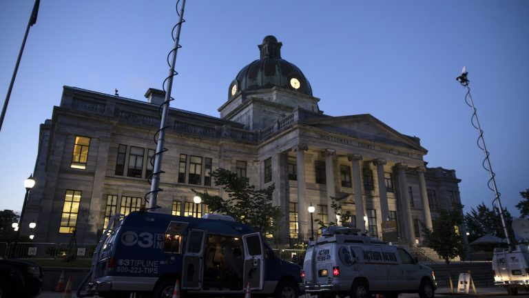 Television trucks are parked at the Montgomery County Courthouse for Bill Cosby's sexual assault trial at the in Norristown, Pa., Thursday, June 8, 2017. (AP Photo/Matt Rourke)