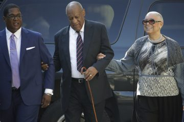 Bill Cosby arrives for his sexual assault trial with his wife, Camille Cosby, right, at the Montgomery County Courthouse in Norristown, Pa., Monday, June 12, 2017. (AP Photo/Matt Rourke)