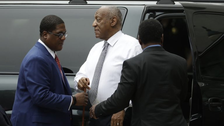 Bill Cosby arrives at the Montgomery County Courthouse during his sexual assault trial, Friday, June 16, 2017, in Norristown, Pa. (AP Photo/Matt Slocum)