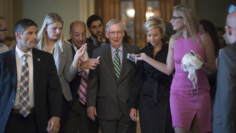 Senate Majority leader Mitch McConnell leaves the chamber after announcing the release of the Republicans' healthcare bill which represents the party's long-awaited attempt to scuttle much of President Barack Obama's Affordable Care Act, at the Capitol in Washington, Thursday, June 22, 2017. The measure represents the Senate GOP's effort to achieve a top tier priority for President Donald Trump and virtually all Republican members of Congress. (AP Photo/J. Scott Applewhite)