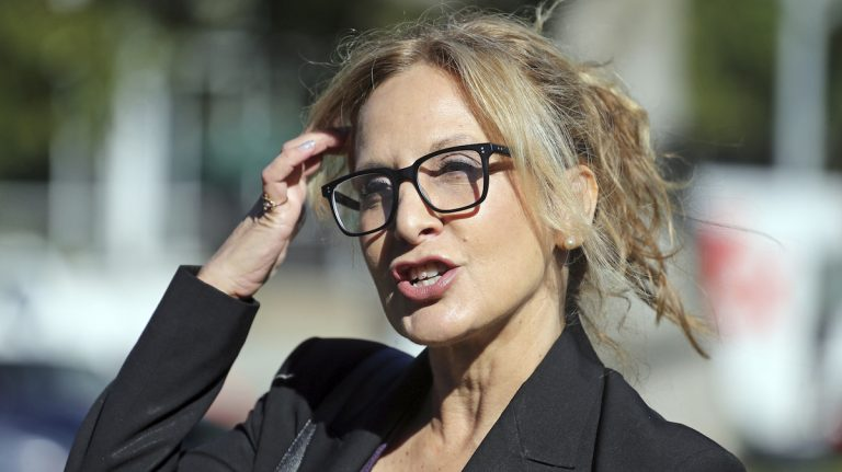 Angela Agrusa, attorney for entertainer Bill Cosby, who is accused of sexual assault by Judy Huth at the Playboy Mansion more than 40 years ago, speaks outside Los Angeles Superior Court after a hearing, Tuesday, June 27, 2017, in Santa Monica, Calif.  (AP Photo/Reed Saxon)