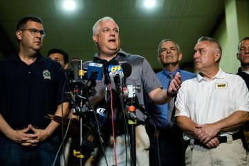 Matthew Weintraub, District Attorney for Bucks County, Pa., speaks with members of the media in New Hope, Pa., Thursday, July 13, 2017. (AP Photo/Matt Rourke)