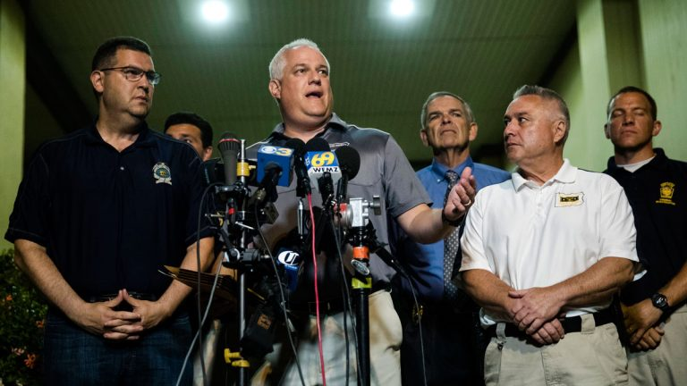 Matthew Weintraub, District Attorney for Bucks County, Pa., speaks with members of the media in New Hope, Pa., Thursday, July 13, 2017. Weintraub said they've found human remains in their search for four missing young Pennsylvania men. (AP Photo/Matt Rourke)