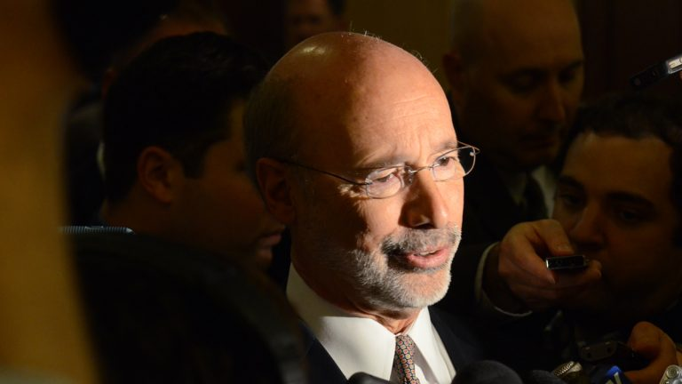 Gov. Tom Wolf responds to reporters' questions after speaking at a Pennsylvania Press Club luncheon Monday in Harrisburg. Wolf urged Republican lawmakers to support a proposed deal to swap a state sales tax increase for $1.4 billion in school property tax cuts for homeowners . Republicans say they disagree with Wolf over which school districts should benefit most from the rebates. (AP Photo/Marc Levy)
