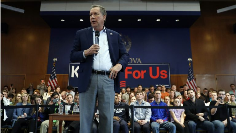 Republican presidential candidate Ohio Gov. John Kasich speaks during a town hall event at Villanova University Wednesday