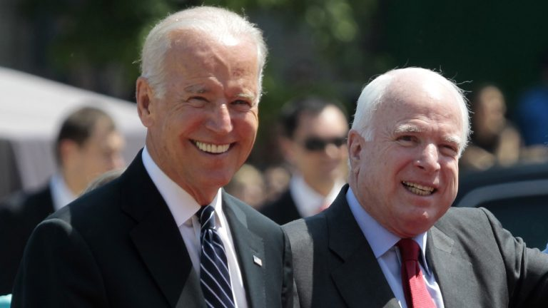 U.S. Vice President Joe Biden, (left), and U.S. Sen. John McCain, R-Ariz. (Sergei Chuzavkov/AP Photo, file)