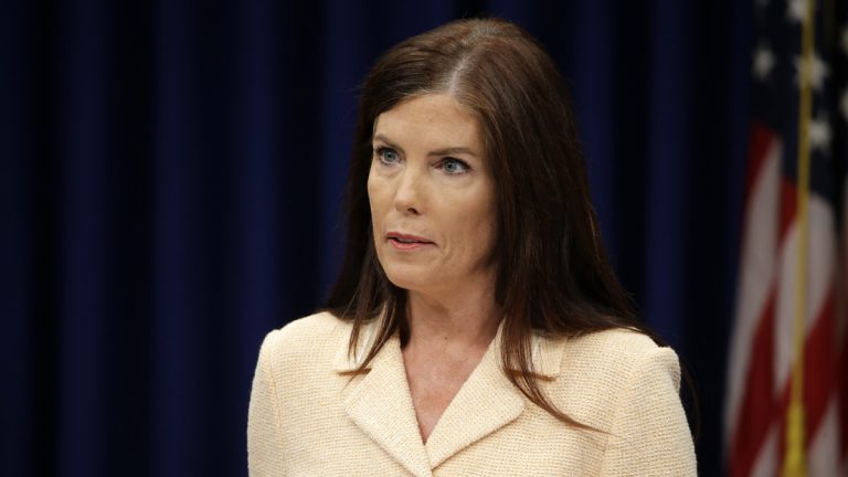 Pennsylvania Attorney General Kathleen Kane speaks during a news conference last week. She said that criminal charges against her are part of an effort by state prosecutors and judges to conceal pornographic and racially insensitive emails they circulated with one another. Documents unsealed Tuesday by the state Supreme Court challenge that account. (AP photo/Matt Rourke)