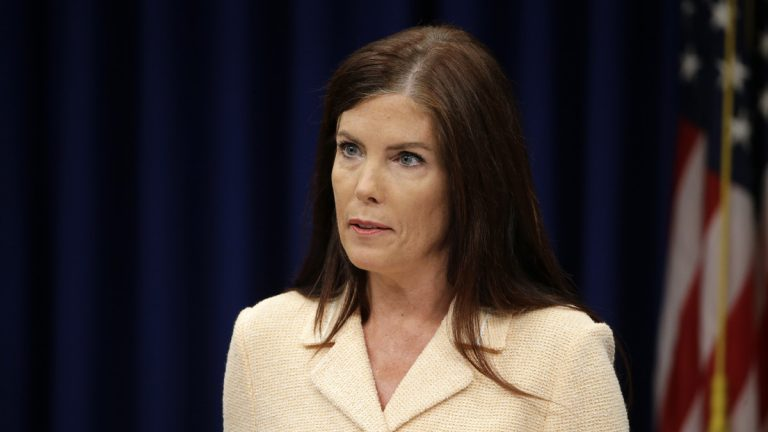 Pennsylvania Attorney General Kathleen Kane speaks during a news conference earlier this month. On  Wednesday, the state Supreme Court unsealed a trove of documents showing that, as early as  November,  Kane was claiming that the investigation into her stemmed from her efforts to release pornographic and insensitive emails exchanged by her critics.(AP Photo/Matt Rourke)