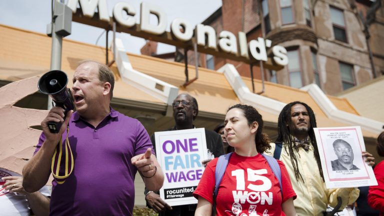 In 2015, Pennsylvania state Sen. Daylin Leach, D-Montgomery, leads a May Day demonstration calling for a $15 minimum wage. He plans another run for Congress, this time in the 8th District. (AP file photo)