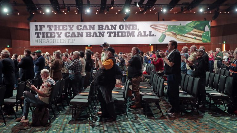 National Rifle Association members applaud a speech during the annual meeting of members at the NRA convention in April in Nashville, Tennessee. (AP file photo)