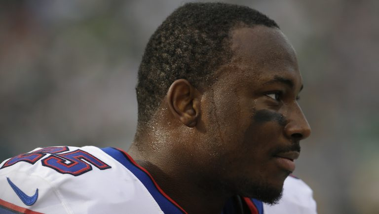 Buffalo Bills' LeSean McCoy looks on from the sidelines during the first half of an NFL football game against the Philadelphia Eagles, Sunday, Dec. 13, 2015, in Philadelphia. (AP Photo/Matt Rourke)