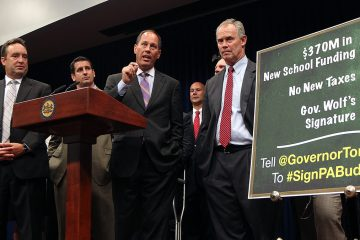 Senate President Pro Tempore Joseph Scarnati, R-Jefferson (middle), and Speaker of the House Mike Turzai, R-Allegheny (right), have been deposed in the federal gerrymandering case, but their testimony isn't public. (AP Photo/Chris Knight)