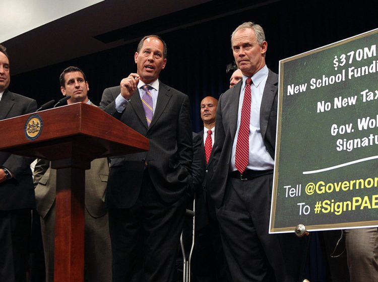 Senate President Pro Tempore Joseph Scarnati, R-Jefferson (middle), and Speaker of the House Mike Turzai, R-Allegheny (right), at a press conference in 2017. (AP Photo/Chris Knight)