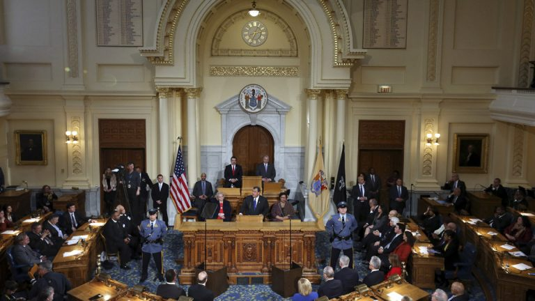 Gov. Chris Christie presented his budget plan to a join session of the New Jersey Legislature in February. Democrats who control both houses Thursday unveiled a $34.8 billion budget proposal