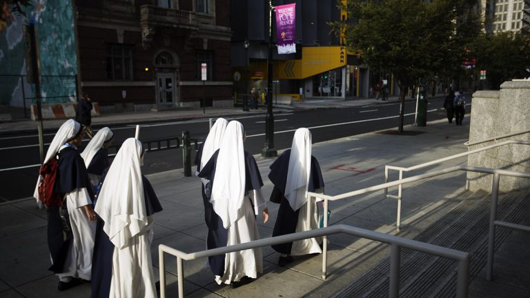 Nuns walk to the Pennsylvania Convention Center to attend the World Meeting of Families conference last month in Philadelphia. The event was one of several, Convention Center officials say, that illustrate a resurgence of the facility. (AP Photo/David Goldman)