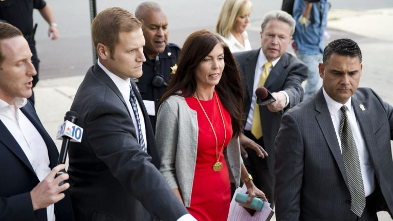 Pennsylvania Attorney General Kathleen Kane departs after her preliminary hearing Monday at the Montgomery County courthouse in Norristown. Kane is accused of leaking secret grand jury information to the press, lying under oath and ordering aides to illegally snoop through computer files to keep tabs on an investigation into the leak. (AP photo/Matt Rourke)