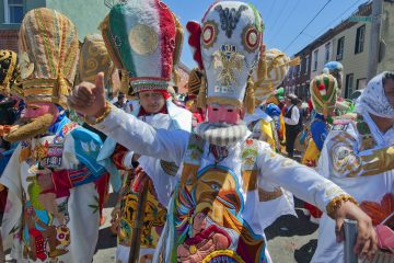 Marchers in Philadelphia's El Carnaval de Puebla en Filadelfia don caricature costumes depicting the Mexican army that prevailed over the French and Turkish forces during the 1862 Battle of Puebla, commonly known as Cinco de Mayo. (PRNewsFoto/Greater Philadelphia Tourism Marketing Corporation, R. Kennedy for GPTMC)