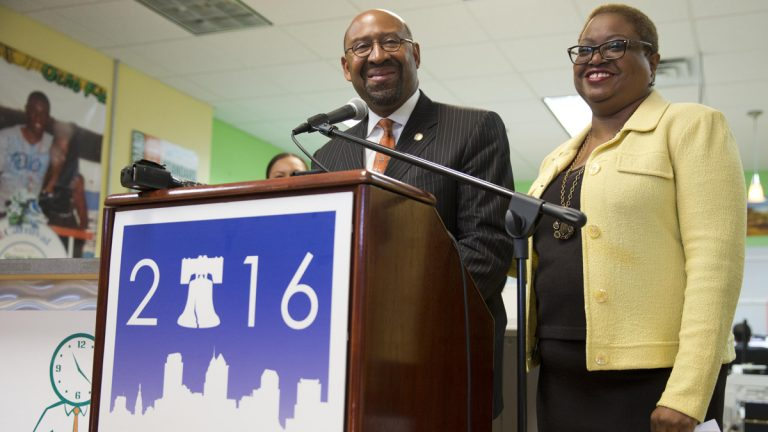Philadelphia Mayor Michael Nutter, and CEO of the Democratic National Convention Committee The Rev. Leah Daughtry speak about the 2016 Democratic National Convention during a news conference Thursday in Philadelphia. (AP Photo/Matt Rourke