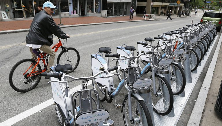 Where one can find a Healthy Ride bikeshare station is one of more than 150 data sets available through the Western Pennsylvania Regional Data Center's open data portal.  (AP Photo/Keith Srakocic)