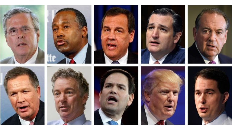 Republican presidential candidates, from top left, Jeb Bush, Ben Carson, Chris Christie, Ted Cruz, Mike Huckabee and, from bottom left, John Kasich, Rand Paul, Marco Rubio, Donald Trump and Scott Walker. The candidates are scheduled to participate in a 9 p.m. Fox News Channel Republican presidential debate on Thursday. (AP file photos)
