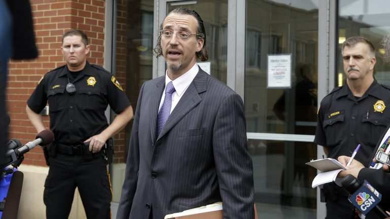 Michael Diamondstein utside the Atlantic County Criminal Courthouse in Mays Landing, N.J., Thursday, May 1, 2014  (AP Photo/Mel Evans)