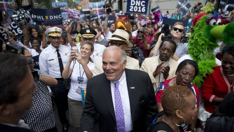 Former Pennsylvania Gov. Ed Rendell greets Democratic National Committee representatives in 2014 in Philadelphia as the city lobbied to host the 2016 event. (AP file photo)