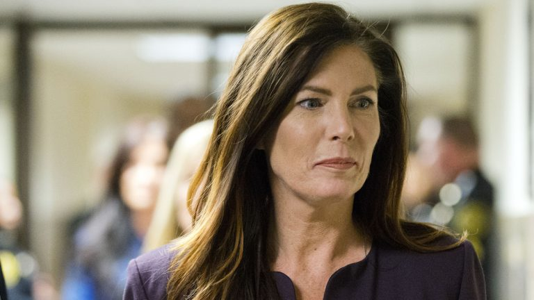 A Pennsylvania Senate panel has  voted along party lines to let the full Senate recommend whether Attorney General Kathleen Kane should be removed from office because her law license has been suspended. (AP file)