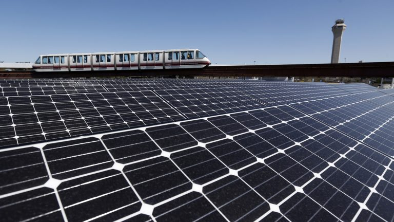 Solar panels cover the roof of the building supplying energy to the AirTrain at Newark Liberty International Airport. One state lawmaker wants to revive incentives for investment in solar energy collection. (AP file photo)