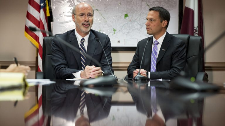 Pennsylvania Gov. Tom Wolf, left, accompanied by Montgomery County Commissioner Josh Shapiro speaks during a news conference last week  in  Norristown. Pennsylvania is more than a month and a half into its new fiscal year without a state budget. (AP Photo/Matt Rourke)