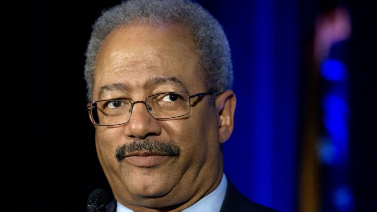 In May, U.S Rep.  Chaka Fattah  spoke at an event at the School of the Future in Philadelphia.  Following his indictment on corruption charges Wednesday, his future is not very clear. (AP file photo)