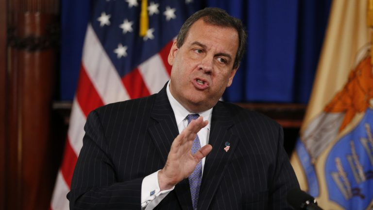 New Jersey Gov. Chris Christie speaks to reporters during a news conference following his signing of the state's 2016 budget Friday in Trenton Christie vetoed more than $1.6 billion from the 2016 budget approved by the Democratic-controlled Legislature and signed a roughly $34 billion budget into law. (AP Photo/Julio Cortez)