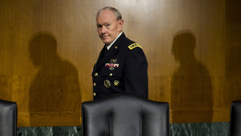 Former Joint Chief Chairman General Martin Dempsey arrives to testify before the Senate Foreign Relation Committee on Capitol Hill in Washington, Wednesday, March 11, 2015.  (AP Photo/Pablo Martinez Monsivais)