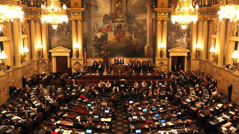 Gov. Tom Wolf delivers his budget address for the 2016-17 fiscal year to a joint session of the Pennsylvania House and Senate at the State Capitol in Harrisburg in February. The deadline for passage of a spending plan is Thursday.(AP Photo/Chris Knight)