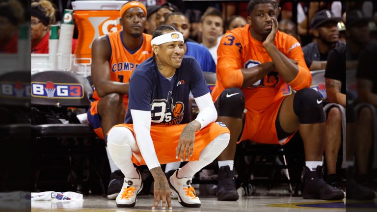 3's Company player/captain and coach Allen Iverson, (center), kneels on the sideline during the first half of Game 3 in the BIG3 Basketball League debut, Sunday, June 25, 2017, at the Barclays Center in New York. (Kathy Willens/AP Photo)