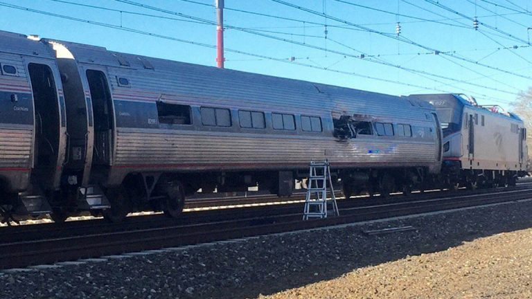 This photo shows an Amtrak train following an accident Sunday
