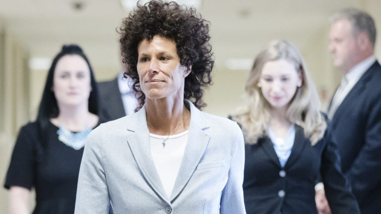 Andrea Constand walks to the courtroom during Bill Cosby's sexual assault trial at the Montgomery County Courthouse in Norristown, Pa., Tuesday, June 6, 2017. (Matt Rourke/AP Photo, Pool)