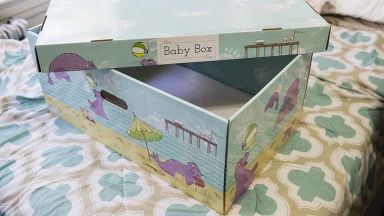 Displayed at the home of Dolores Peterson is a box that can be uses as a crib in Camden, N.J., Monday, March 6, 2017. New Jersey became the first state to send newborn babies and their parents home with a box that doubles as a crib and full of necessities, with the aim of cutting back on sudden infant death syndrome. (Matt Rourke/AP Photo)