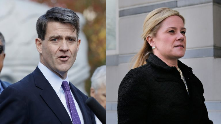 Bill Baroni and Bridget Kelly sentenced Wednesday for their roles in the 2013 George Washington Bridge lane-closing scandal. (Julio Cortez and Seth Wenig/AP Photos, file)