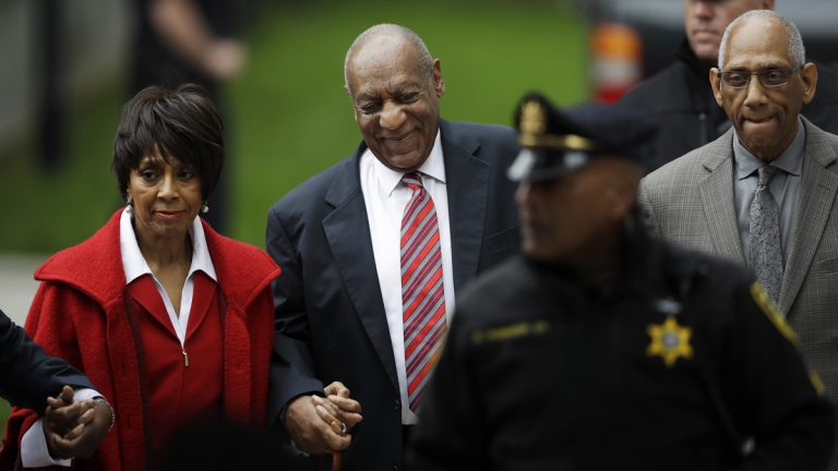 Bill Cosby arrives with actress Sheila Frazier, (left), and Frazier's husband John Atchison, a celebrity hairstylist, for his sexual assault trial at the Montgomery County Courthouse in Norristown, Pa., Wednesday, June 7, 2017. Cosby and Frazier were on screen together in the 1978 comedy 'California Suite.' Atchison's client roster includes Cosby and his wife, Camille. (Matt Rourke/AP Photo)