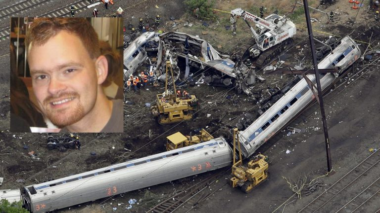 The NTSB has found that Brandon Bostian (left via NBC10/LinkedIn) the engineer driving an Amtrak train was not using his cellphone in the moments before the train derailed in Philadelphia last month. (Patrick Semansky/AP Photo)